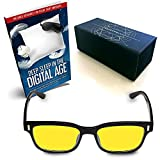 SafetyBlueTM Blue Light Blocking Computer & Gamer Glasses with Bold Retro Thick Frame Blue Blocker Eyewear | Anti Glare, Fatigue, Headache, Eye Strain Eyeglasses - UV Ray Protection