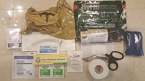 US Military issue personal IFAK, individual first aid kit wtih Israeli compression trauma bandage, cat tourniquet, celox, compression gauze, nasopharyngeal tube chest seal and more