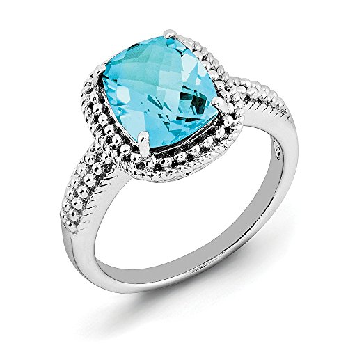 Blue Topaz Milgrain Ring - Cushion Cut Light Blue Topaz & Milgrain Sterling Silver Ring, Size 8