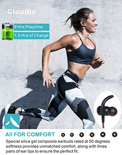 Cloudio S1 Bluetooth Sports in-Ear Headphones Best Wireless Stereo Earbuds Magnet IPX7 Sweatproof Bath Shower Swimming Waterproof Earphones Mic Running Workout 9 Hrs Noise Cancelling Headsets by Cloudio (Image #4)