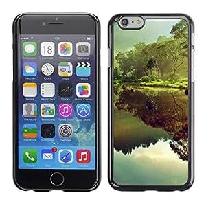 Caucho caso de Shell duro de la cubierta de accesorios de protección BY RAYDREAMMM - Apple iPhone 6 Plus 5.5 - Reflection Rainforest Green Trees