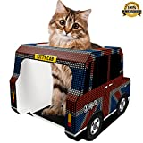 Kitty Cab - The Union Jack Black Cab is a Stylish Cardboard Toy Designed to Entertain Adult Cats, Kittens or Rabbits– Use as a Scratcher Post, Toys or Bed. Bonus eBook