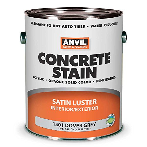 Anvil 1500 Concrete Stain, Interior Exterior Concrete Coating, Penetrating Acrylic Paint, Available in 7 Solid Colors, Dover Grey 1 Gallon