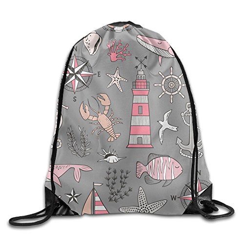 Nautical Doodle With Whale Drawstring Backpack Basic Sackpack Gym Tote Dance Bag For Swimming Shopping Sports Women Men Boys Girls