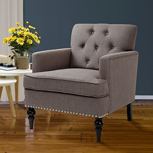 Finnkarelia Grey Accent Chair for Living Room Contemporary Arm Club Chair with Armrest and Solid Wood Leg, Linen Fabric Gray Single (Sitting Chairs)
