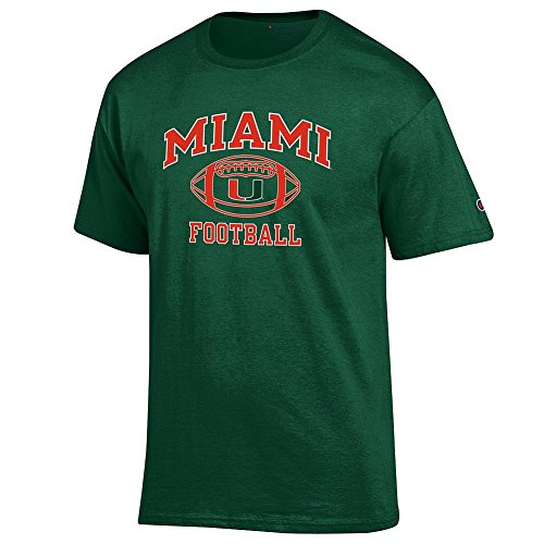 (Elite Fan Shop NCAA Men's Miami Hurricanes Team Color Football T-shirt Miami Hurricanes Green Large )