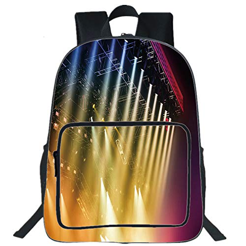 "Price comparison product image Musical Theatre Home Decor 16"" School Backpack,  Waterproof Laptop Bookbag, Colorful Rays Concert Dance Music Staging Technology Smoky Night, Multi-Functional Travel Backpack for Kids & Adults Multicolor"