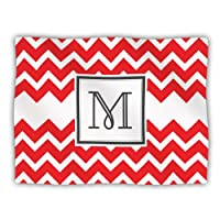 Kess InHouse KESS Original 'Monogram Chevron Red Letter M' Dog Blanket, 40 by 30-Inch