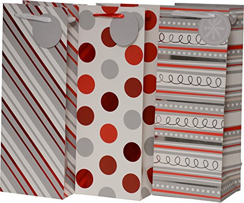 Gift Bags for wine, foil hot-stamp striped, swirl and polka dot designs in red white & gray, set of 24 heavy duty bottle bags for Wedding, Christmas Holiday and all events (Wine Bottle)