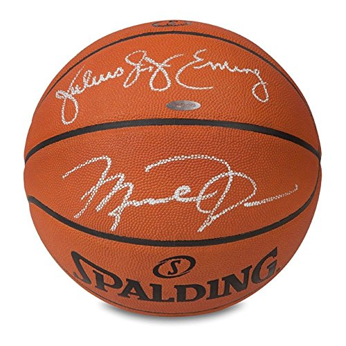 4c2b17aaf25f MICHAEL JORDAN   JULIUS ERVING Autographed Authentic Spalding Basketball UDA