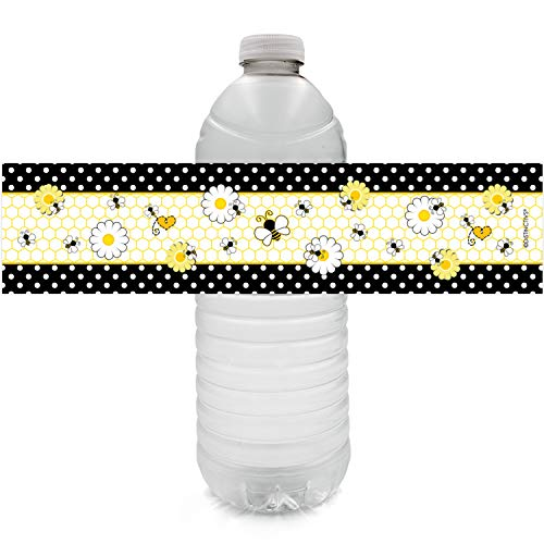 Bumble Bee Party Water Bottle Labels - 24 Stickers