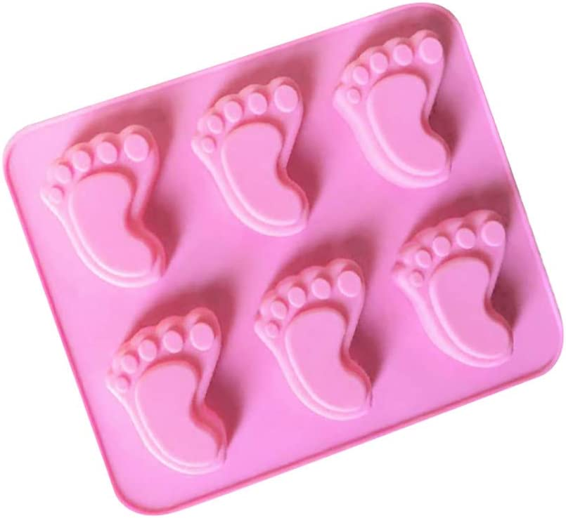 TiTCool Silicone Cake Mould Chocolate Fondant Mold Soap Molds Silicone Baking Molds 6 Cavity Footprint Shape Cute Gift for Your Kids