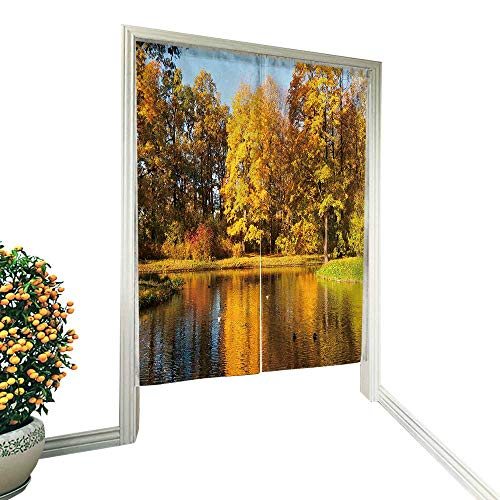 fengruiyanjing Japanese Style Noren Door Curtain Beautiful Autumn Park View at Sunny Weather Tapestry Cotton Linen Curtain Blind 33.5
