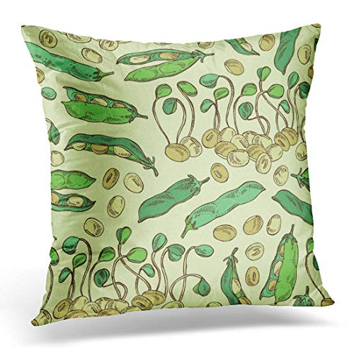 - Emvency Throw Pillow Covers Green Agriculture with Soybean Sprouts Sprouted and Bean Decorative Pillow Case Home Decor Square 20