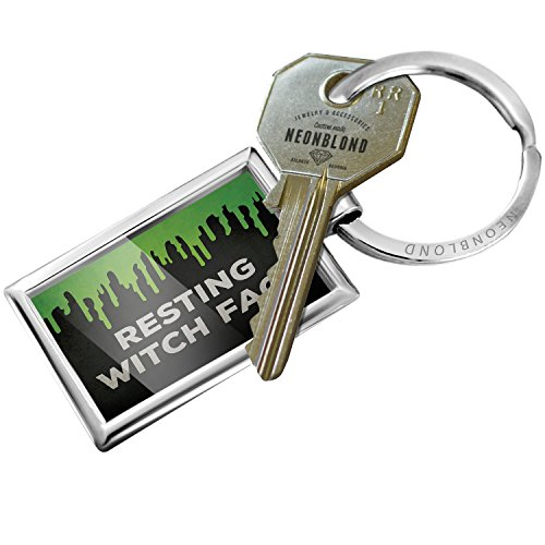 NEONBLOND Keychain Resting Witch Face Halloween Green