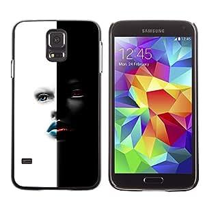 Be-Star Único Patrón Plástico Duro Fundas Cover Cubre Hard Case Cover Para SAMSUNG Galaxy S5 V / i9600 / SM-G900F / SM-G900M / SM-G900A / SM-G900T / SM-G900W8 ( Black & White Gilr Sexy Face )