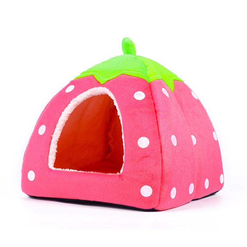 Pink SmallPet Cave Pet TentSoft Bed Strawberry Soft Tent Bed Cute Sponge Puppy Cat Cave Dog House for Pets