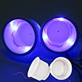 (Set of 4) Amarine-made Recessed Drop in Plastic Cup Drink Can Holder with Drain for Boat Car Marine Rv (White-3 LED Blue Light)