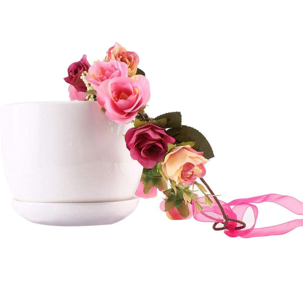 Bokeley 造花 レディース ハンドメイド 花 フローラル ヘアバンド クラウン ウェディング 花輪 ブライダルヘッドドレス 19cm ピンク BK-1 B07GDBHFL7 ピンク