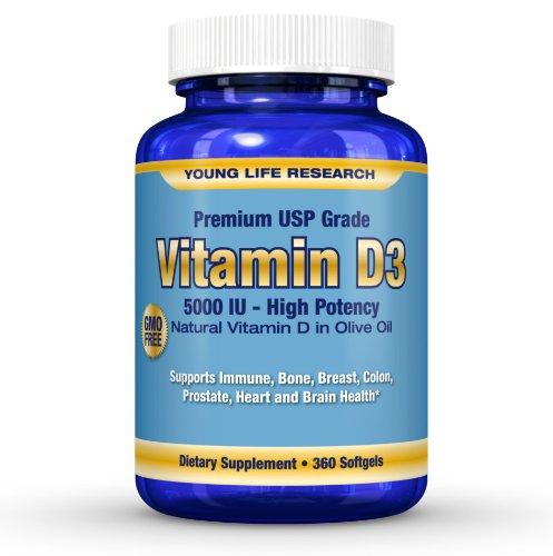 La vitamine D3 5000 UI (cholécalciférol) - Dans OGM sans huile d'olive bio - 360 gélules. Grande Puissance Prime USP année Vit D - En recherche Young Life.