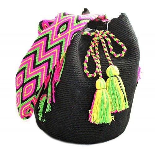 Bolso, Mochila Wayuu Original - Negro - Diseños exclusivos - Estilo - Wayuu-116: Amazon.es: Zapatos y complementos