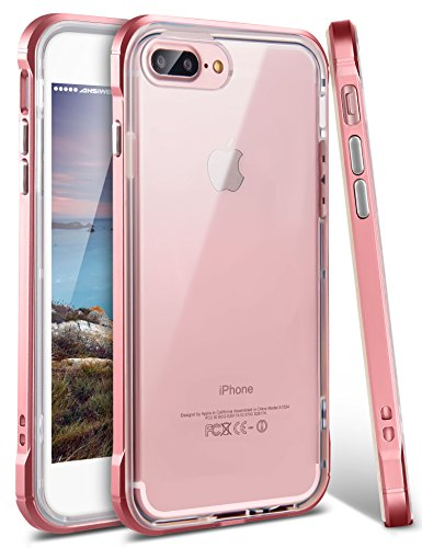 iPhone 8 Plus Case, iPhone 7 Plus Case, Ansiwee Shockproof Armor iPhone 7 Plus Protective Defender Impact Resistant Slim Fit Rubber Bumper Case Cover for Apple iPhone 7/8 Plus 5.5 inch (Rose Gold)