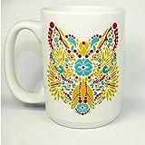 Kitchen & Housewares : Fox Sugar Skull Coffee Mug - Fox Henna Coffee Mug - Fox Tribal Coffee Mug
