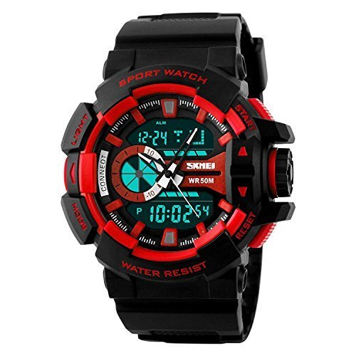 SKMEI Analog Digital Black Dial Men #39;s Watch   AD1117  BLK  RED