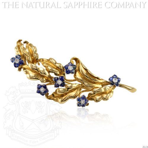 Blue Sapphire Yellow Brooch (18K YELLOW AND WHITE GOLD FLORAL BROOCH, CARTIER (J4154))
