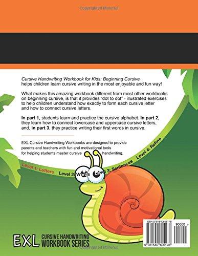 Cursive Handwriting Workbook for Kids: Beginning Cursive: Exl ...