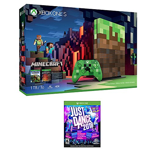 Xbox Minecraft Dance Bundle (2 Items): Xbox One S 1TB Limited Edition Minecraft Console with Creeper Controller and Just Dance 2018 Game by Microsoft