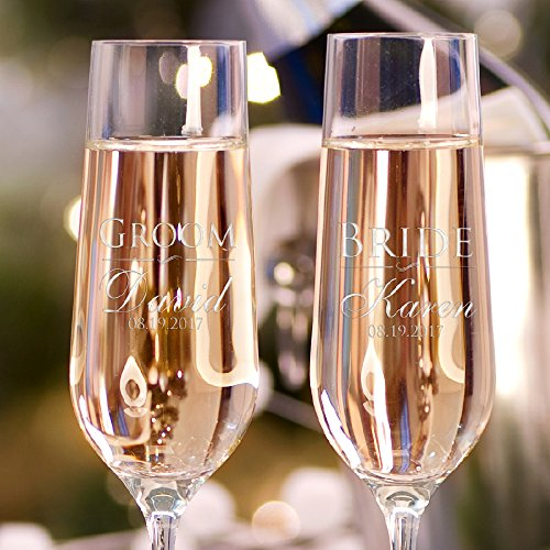 Set of 2 Personalized Wedding Champagne Flutes Engraved Glass Bride and Groom Gift Wedding Favors - Design - Glass Engraved Toasting