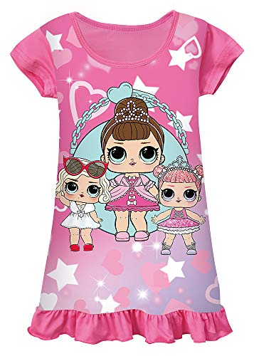 WNQY Surprise Princess Pajamas Girls Nightgown Dress for Doll Surprised (Rose,150/7-8Y) (Baby Doll Nightgown For Girls)