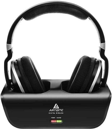 Amazon Com Wireless Tv Headphones Artiste Adh300 2 4ghz Digital Over Ear Stereo Headphone For Tv 100ft Distance Transmitter Charging Dock Rechargeable Black Electronics