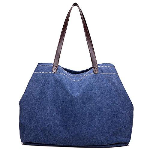 Aoligei Grande capacité rétro toile casual femme sac sac à bandoulière simple banlieue femmes sac version coréenne sac en tissu D