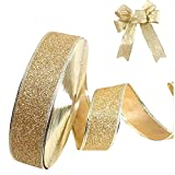 "Da.Wa Wired Glitter Ribbon for Bows/Gift Wrapping/Christmas,2""x78""Blue/Red/Gold/Purple"