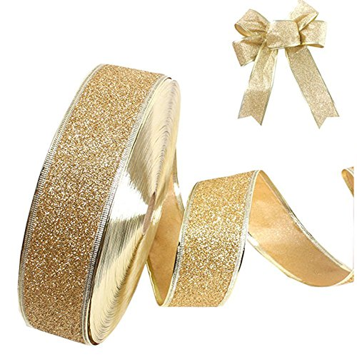 Weimay Satin Fabric Christmas Glitter Ribbon Gift Wrapping Ribbons DIY Craft Wedding Decorations 2.2 yards by 2