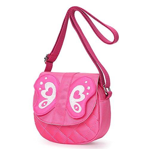 Kids Shoulder Bag Crossbody Purse Butterfly Mini Cartoon Animal Preschool Messenger Handbag for Children Toddler Baby Girls (Butterfly Pink)