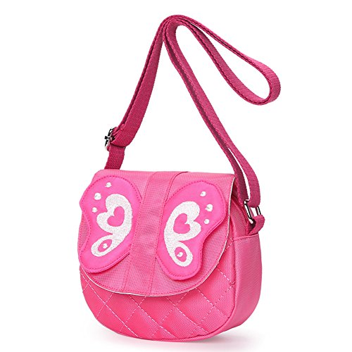 Kids Shoulder Bag Crossbody Purse Butterfly Mini Cartoon Animal Preschool Messenger Handbag for Children Toddler Baby Girls (Butterfly Pink) -