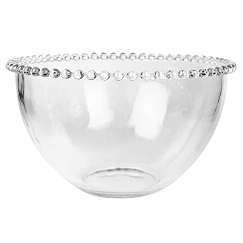 Large Glass Serving Bowl With A Beaded Edge - Use as a salad bowl, mixing bowl, fruit bowl or decorative bowl - H11 x Diameter 20cm - Dishwasher & Microwave Safe