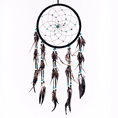 Caught Dreams Dream Catcher ~ Black Suedette with Turquoise Stones 8.5