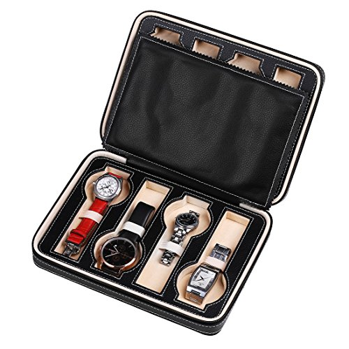 ids Leatherette Watch Travel Case, Tray Zippered Watch Box for Men (8 Grids Black) ()