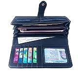 Talendi Women's Vegan Leather Credit Card Holder Wallet Large Capacity Long Bifold Checkbook Wallet (Classic Black)