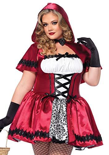 Leg Avenue Women's Plus-Size 2 Piece Gothic Red Riding Hood Costume, Red/White, 3X/4X -