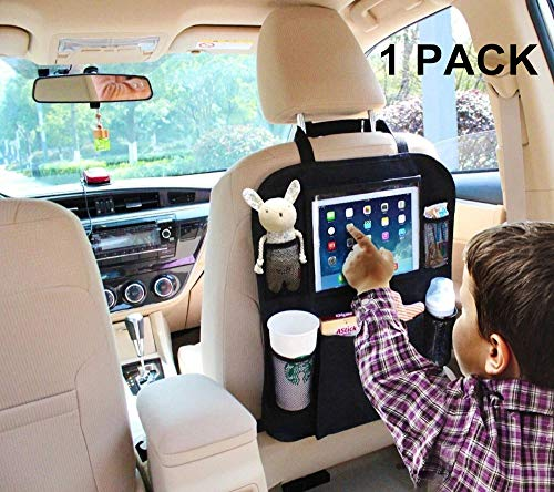 Car Backseat Organizer Kick Mat SUV Car Seat Back Protectors Holder with 6 Storage Pockets, Great Travel Accessories Baby Kids Toddlers Toys Bottle Drink Vehicles (Black1-1 Pack)