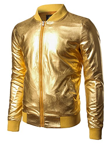 JOGAL Men's Metallic Nightclub Styles Zip Up Baseball Bomber Jacket Large Gold -