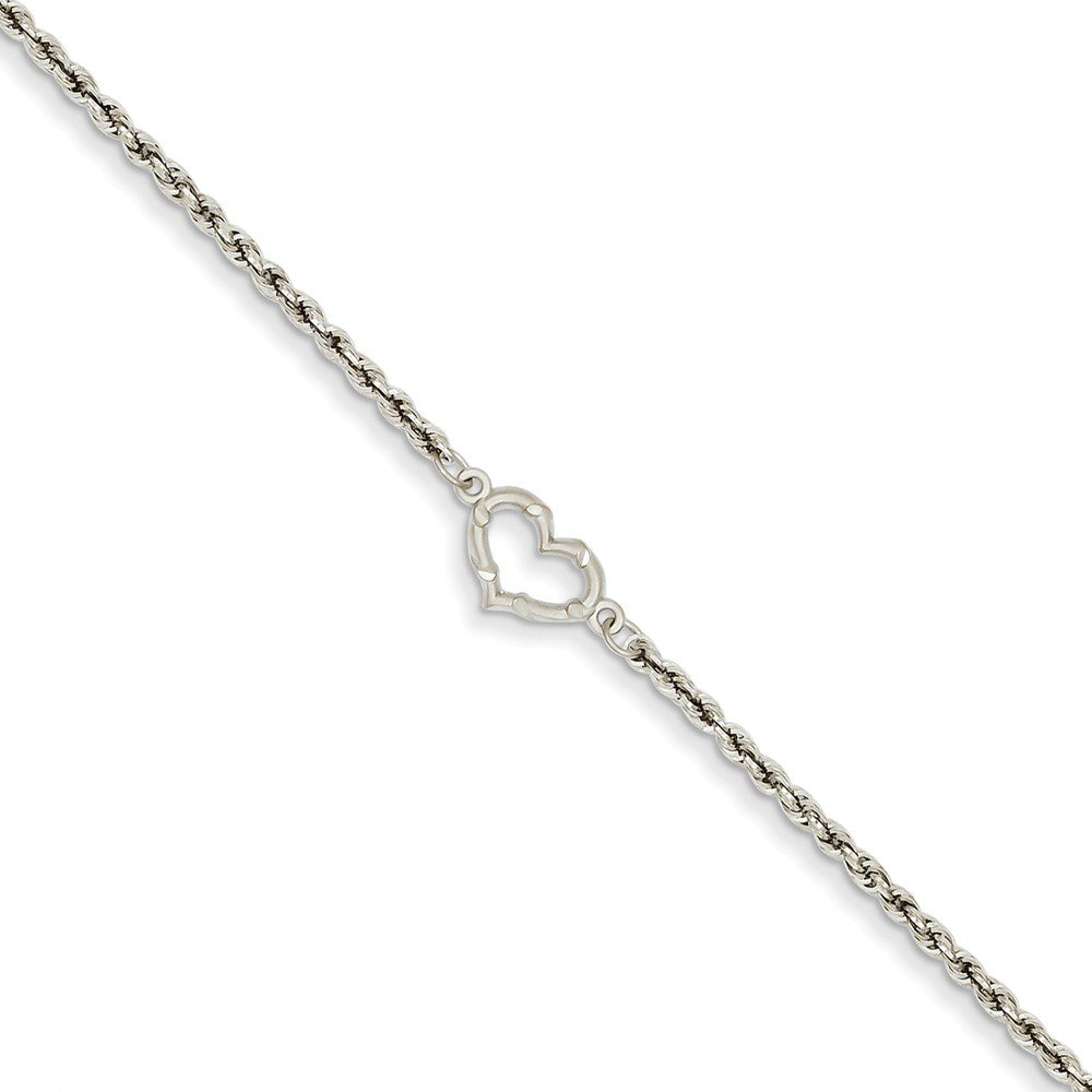 Mia Diamonds 14k White Gold Rope with Heart Anklet Bracelet -10'' (10in x 7mm)
