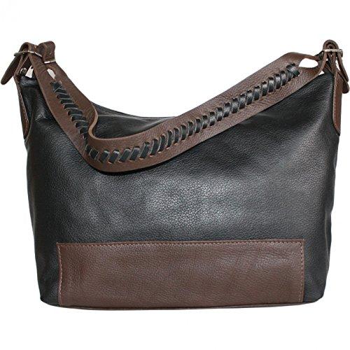 Damen Lederhandtasche Ledertasche Handtasche Tasche Tragetasche echtleder weinrot/schwarz