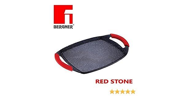 Parrilla de cocción Red Stone multifuncional para cocinar con revestimiento de piedra de lava negra resistente a rasguños 36x23cm para Todo Tipo de ...
