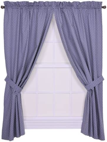 Tyvek Small Scale Diamond 68 by 63-Inch Tailored Panel Pair Curtains with Tiebacks, Blue